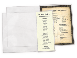 Clear Heat Sealed Add On Pockets For Menu Covers