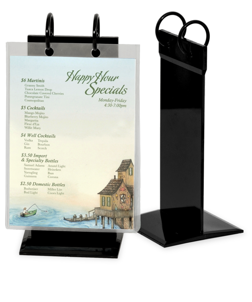 Image PVC Twin Ring Menu Holder  sc 1 st  The Menu Shoppe & Menu Stands | Restaurant Table Tents | Table Stands and Card ...