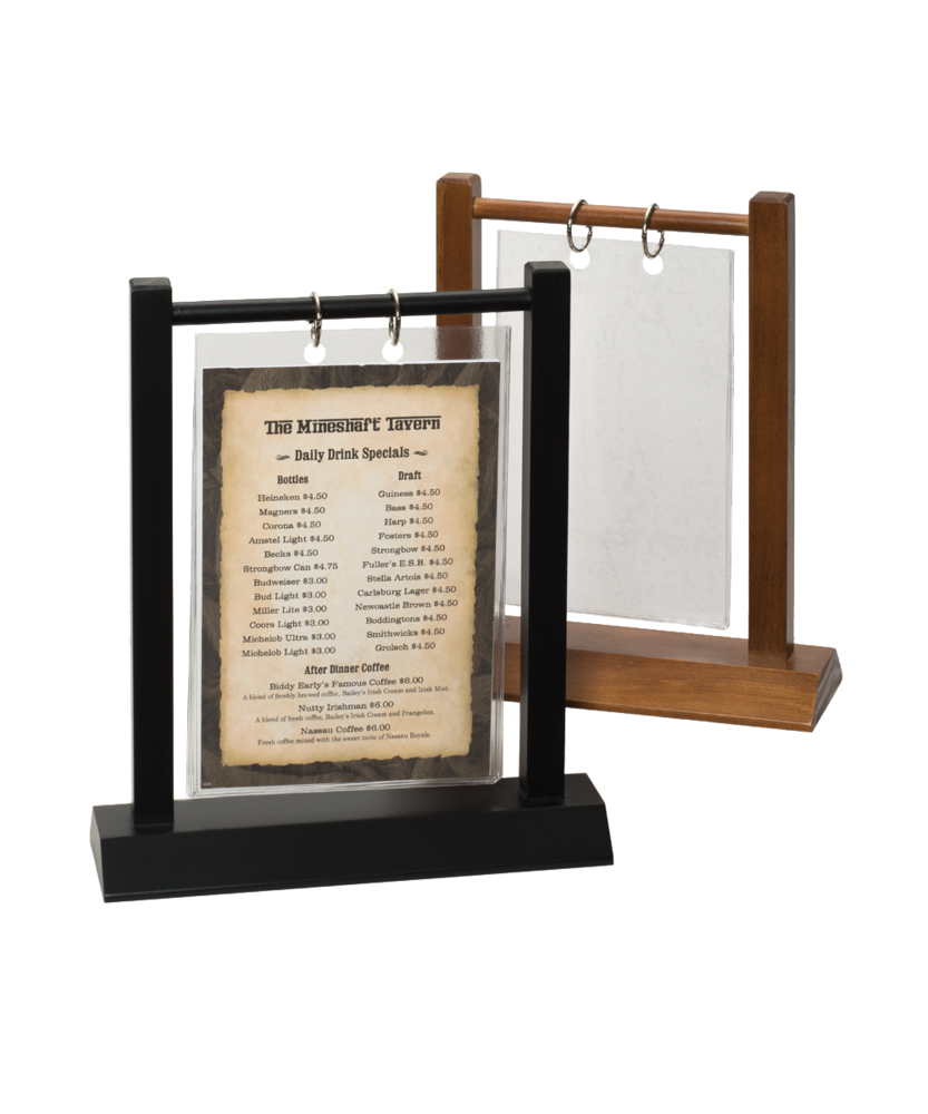 Wooden double post menu holder for Restaurant table menu