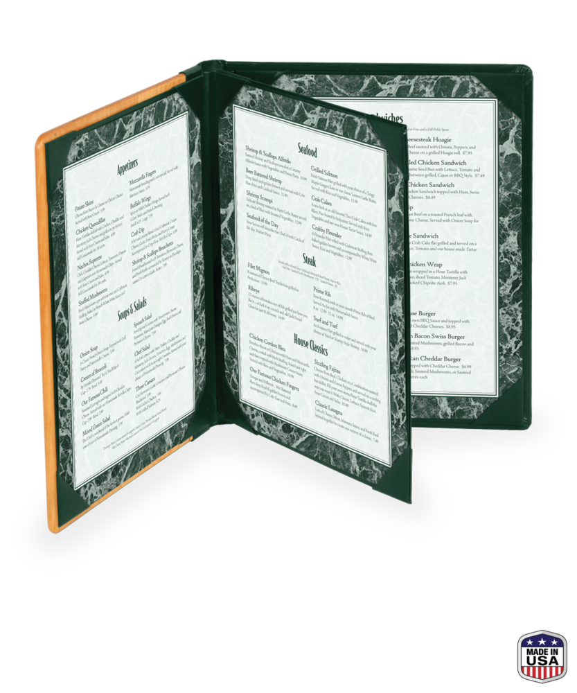4 View Booklet Solid Wood Menu Covers