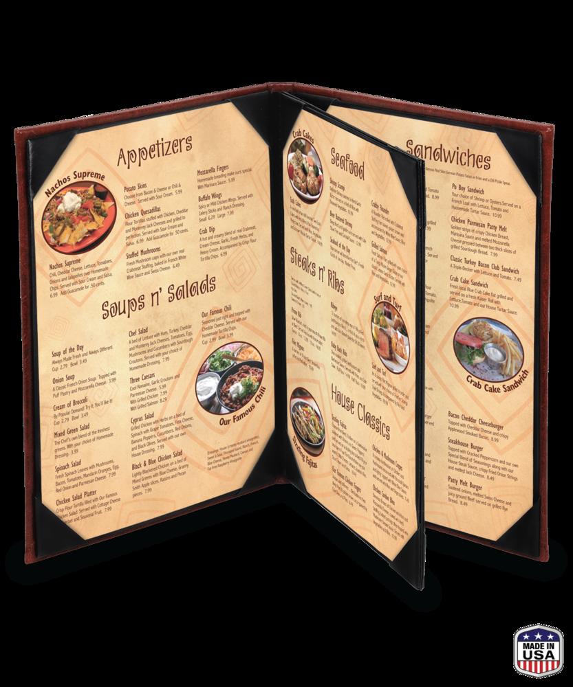Faux Cowhide Triple Booklet Menu Cover