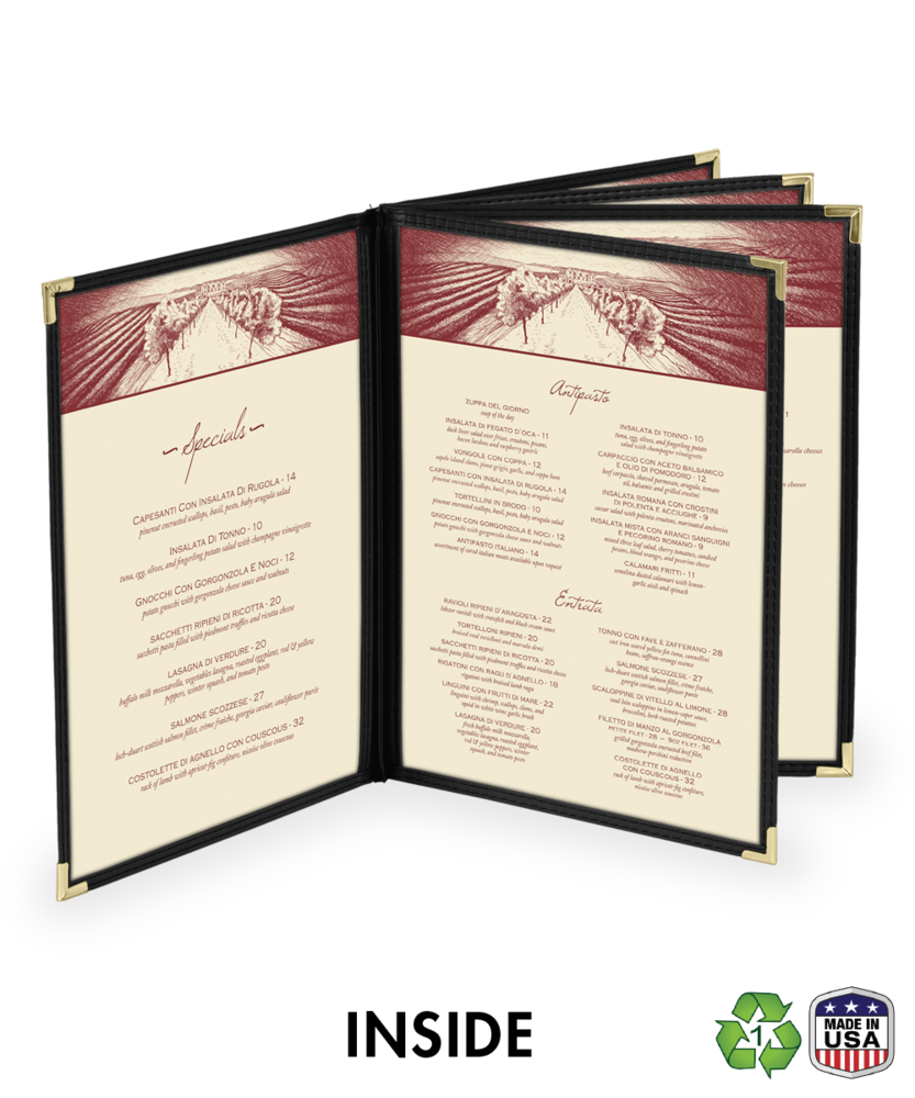 10 view cafe style menu covers