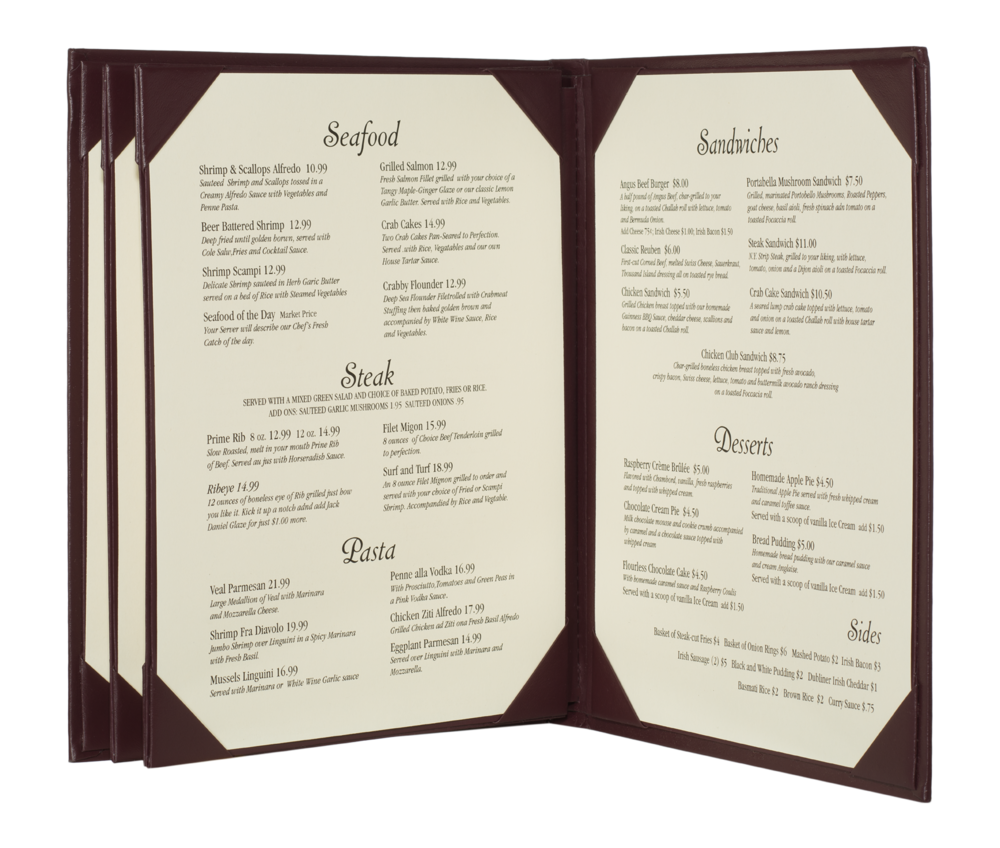 6 view booklet imitation leather menu covers