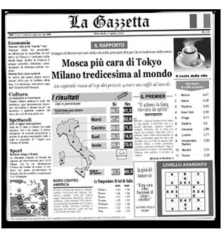 La Gezzetta Italian Newsprinted Tissue Liner