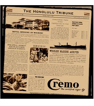 Honolulu Tribune Newsprinted Tissue Liner