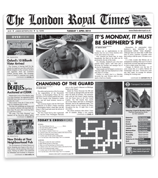 London Royal Times Newsprinted Tissue Liner