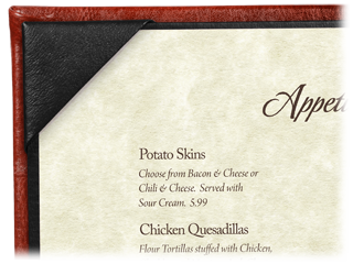 Faux Cowhide Menu Covers