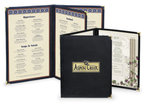 Leatherette Menu Covers with clear inside pockets