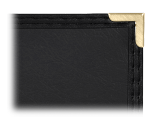 Semi-rigid, imitation leather menu covers with clear inside pockets