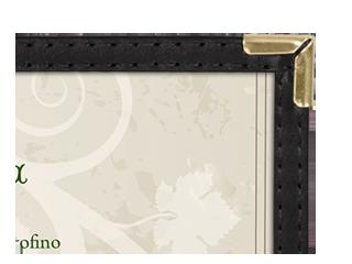 Semi-rigid, imitation leather menu covers with clear inside pockets