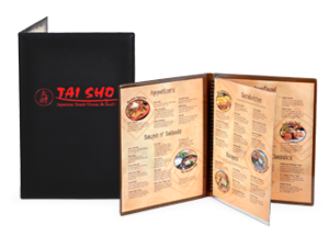 Padded Restaurant Menu Covers with Clear Inside Pockets image