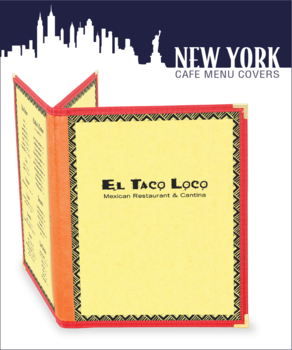 triple booklet new york series cafe menu cover