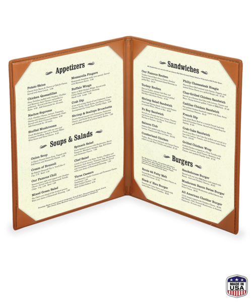Double Genuine Leather Menu Covers