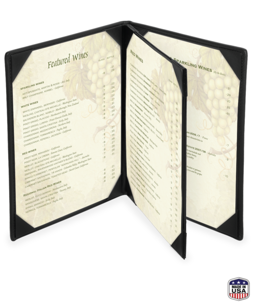 Triple Booklet Genuine Leather Menu Covers
