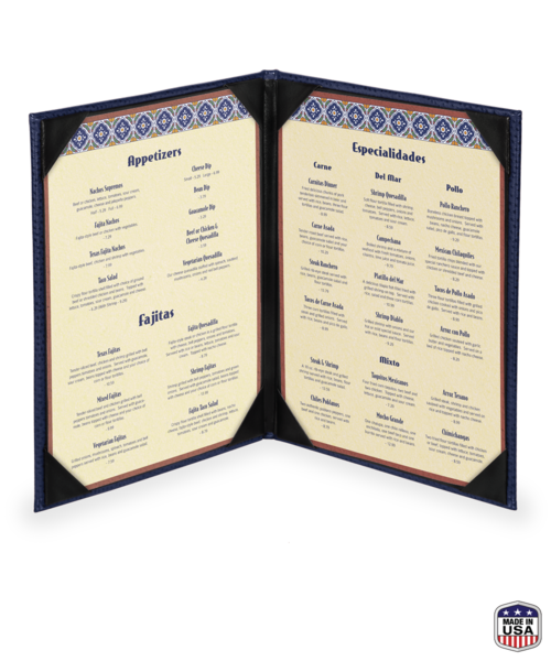 Double Faux Ostrich Menu Covers