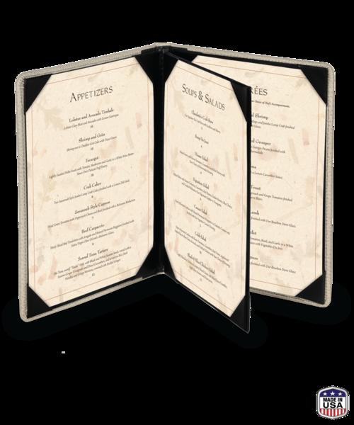 Triple Booklet Faux Ostrich Menu Covers
