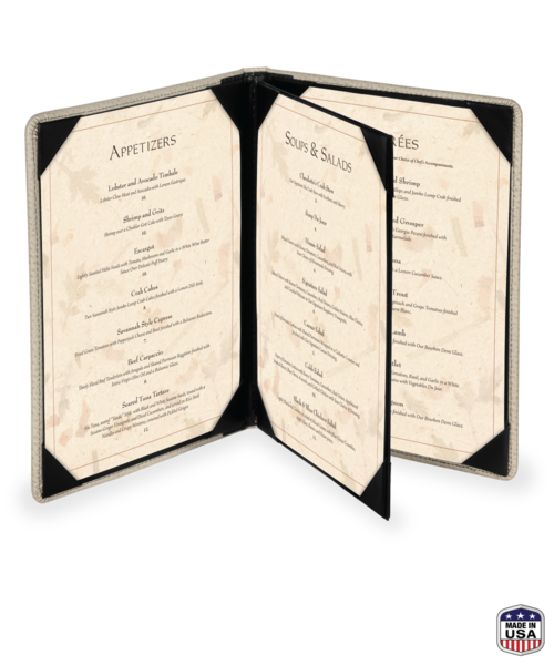 4 view booklet faux ostrich menu covers
