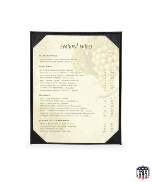Single Bonded Leather Menu Covers