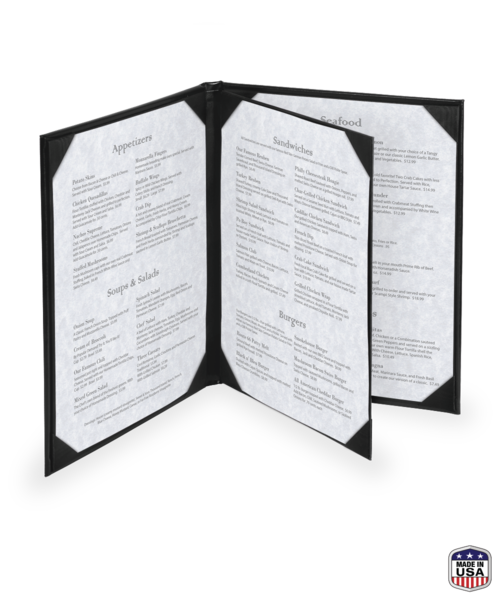 Triple Booklet Bonded Leather Menu Covers