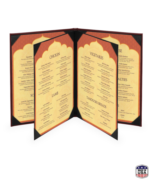 Quad Booklet Bonded Leather Menu Covers