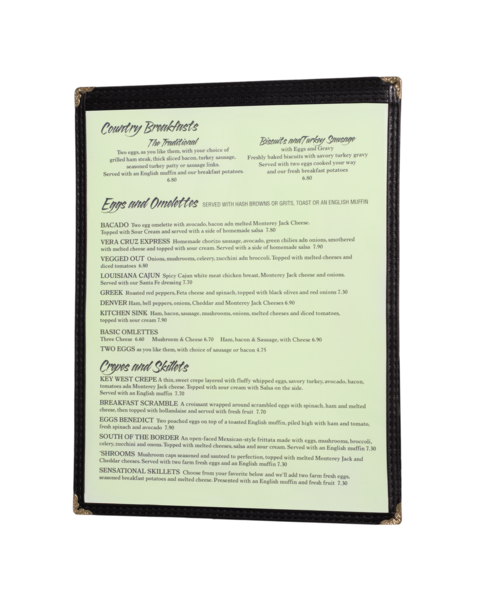 Single Cafe Style Menu Covers
