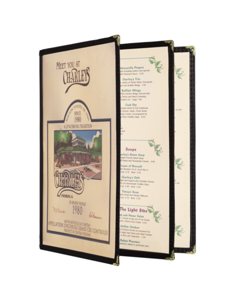 Triple Booklet Cafe Style Menu Covers