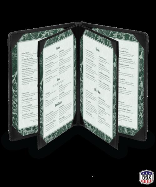 Quad Booklet Faux Leather Menu Covers