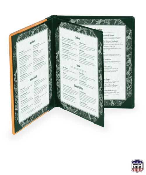 Triple Booklet Wood Menu Cover