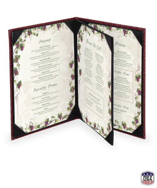 Triple Booklet Basketweave Menu Cover