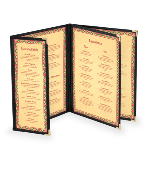 Custom Triple Booklet Cafe Menu Covers