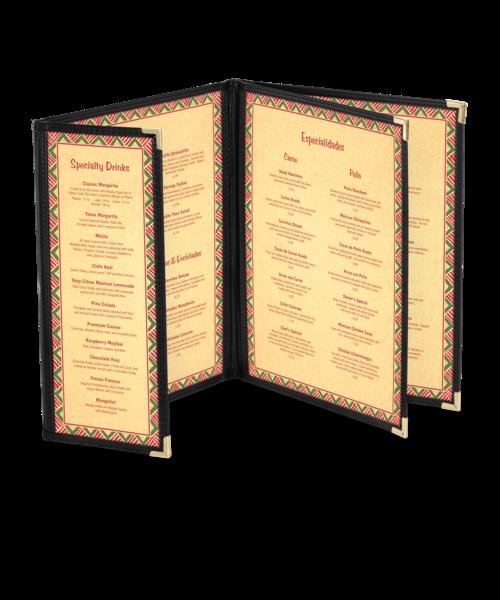 Custom Triple Booklet Cafe Menu Covers