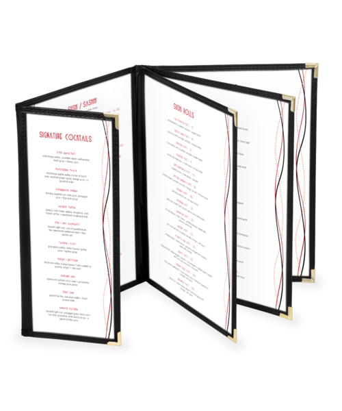 Quad Booklet Cafe Style Menu Cover w/ Half Panel