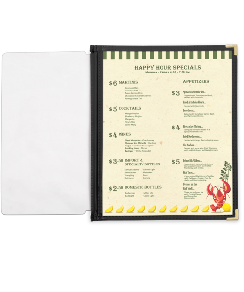 Full Width Menu  Pocket with Leatherette Binding