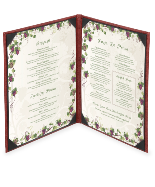 Double Milano Leather Menu Cover