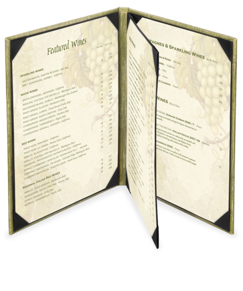 Triple Booklet Milano Leather Menu Cover