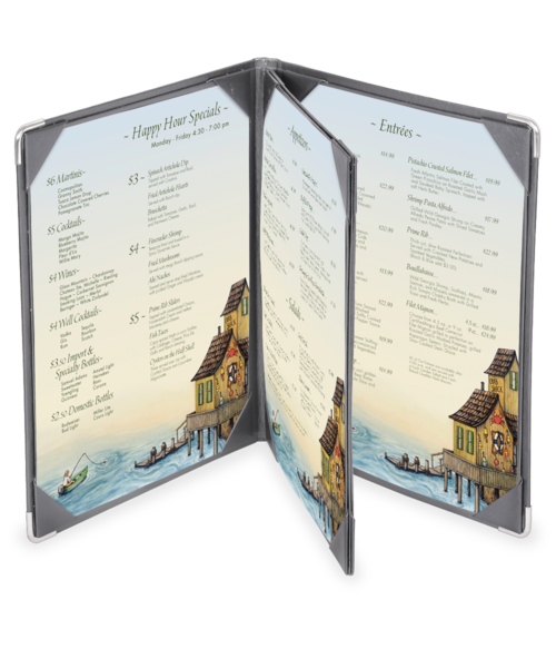 Triple Booklet Brushed Metallic Menu Covers (Four View)
