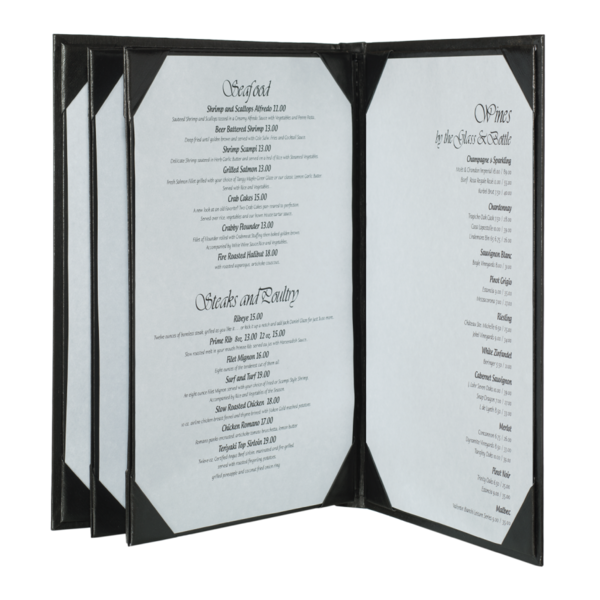 Quad Booklet Brushed Metallic Menu Covers (Six View)
