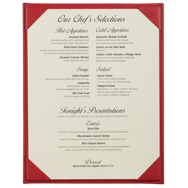 Single Summit Linen Menu Covers (One View)