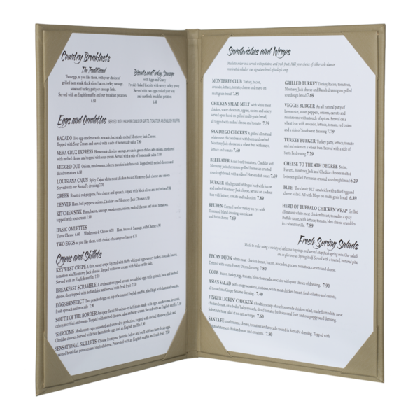 Double Summit Linen Menu Covers (Two View)