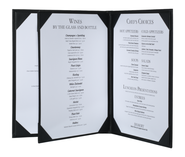 Triple Booklet Summit Linen Menu Covers (Four View)