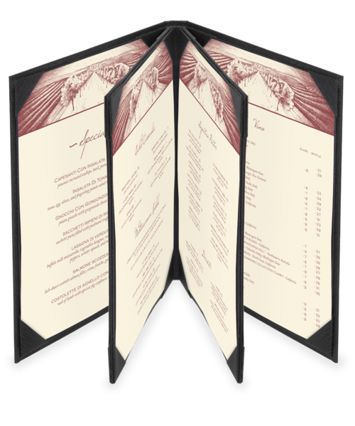 Quad Booklet Summit Linen Menu Covers (Six View)