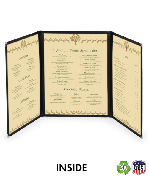 Triple Cafe Style Menu Covers