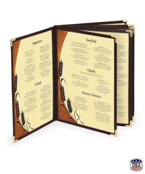 faux leather 10 view booklet menu covers