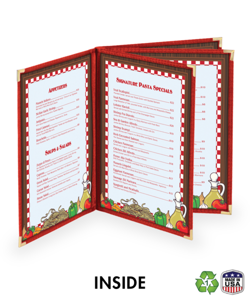 Quad Booklet Cafe Style Menu Covers