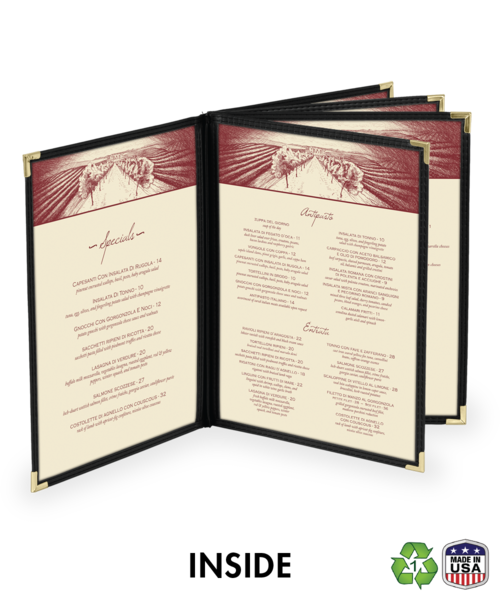 Ten View Booklet Cafe Style Menu Covers