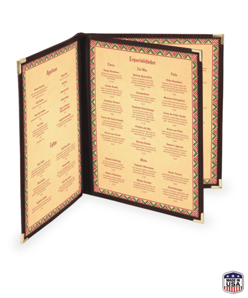 Triple Booklet Imitation Leather Menu Covers