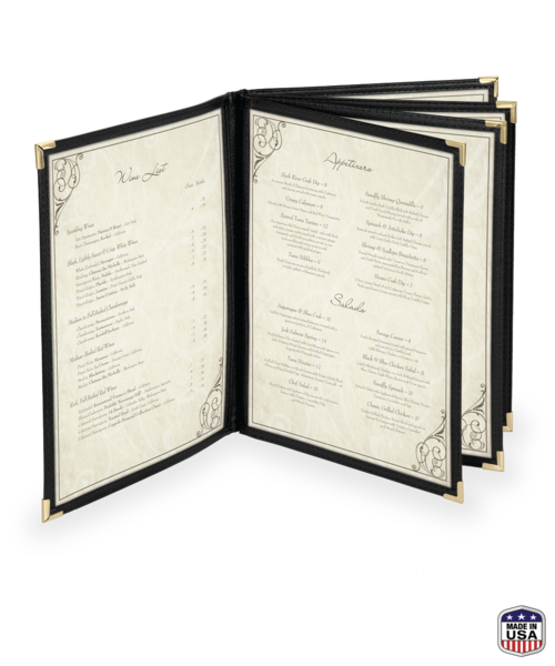 Eight View Imitation Leather Menu Covers