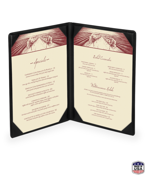 Double Faux Leather Menu Covers