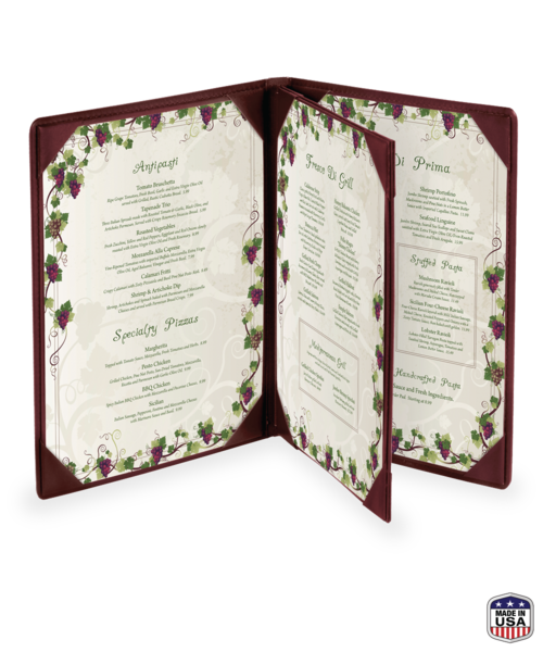 Triple Booklet Faux Leather Menu Covers