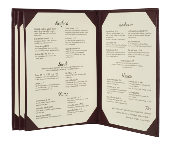 Quad Booklet Imitation Leather Menu Covers